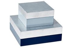 Set of two Nested Boxes in Blue and Silver via One Kings Lane