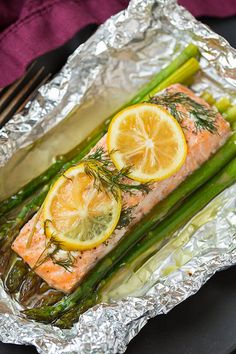 Baked Salmon and Asparagus in Foil Recipe