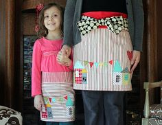 Valentine Appliqued Aprons for mother and daughter by Maureen Cracknell