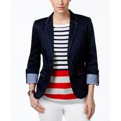 Tommy Hilfiger Roll-Tab-Sleeve Denim Blazer (14600 RSD) ❤ liked on Polyvore featuring outerwear, jackets, blazers, masters navy, blazer jacket, tommy hilfiger, tommy hilfiger jacket, navy jacket and tommy hilfiger blazer