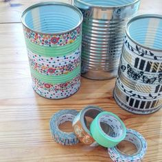 Small Storage | Use empty food tins and washi tape to create pretty storage for pens, paint brushes, etc.