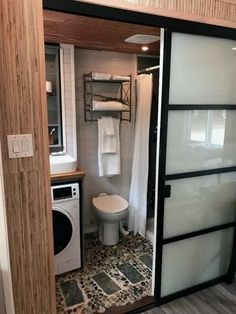 Couples Expanding Tiny House on Wheels Almost Doubles in Space with Slide Outs! - Smart House - Ideas of Smart House - SerendipTiny Expanding Tiny House Off Grid Tiny House, Tiny House Living, Modern Tiny House, Living Room, Tiny House Plans, Tiny House On Wheels, Tiny House Bathroom, Small Bathroom, Tiny House Shower