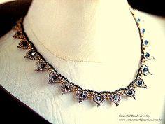 Gráfico de colar de miçangas vintage: Esse gráfico foi titado do Livro Japones Graceful Beads Jewelry
