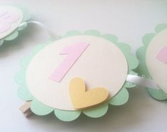 1st Year Photo Banner in MINT, Pink and Ivory. Photo Display 1st Birthday. Gold Heart Banner with Photo Clips.Scallop Photo Banner.13 Months