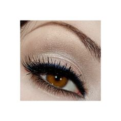 Eye Makeup found on Polyvore. Nude Shimmer Eyeshadow with Black + Blue Eyeliner
