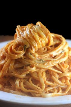 Creamy Tomato Alfredo Linguine. My most requested sauce. #pasta #recipes #dinner #healthy #recipe
