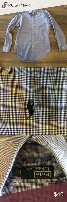 """Polo Ralph Lauren Plaid Blue Dress Shirt 15"""" 32/33 Polo by Ralph Lauren blue glen plaid button down dress shirt. Size 15"""" neck 32/33 sleeve. Used but in excellent condition! Polo by Ralph Lauren Shirts Dress Shirts"""