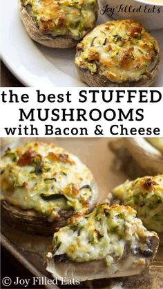Cheese Stuffed Mushrooms with Bacon - Low Carb Keto Gluten-Free Grain-Free THM S - these are filled shredded zucchini bacon mozzarella and provolone. They mix up in just 5 minutes and are a great party appetizer or side dish. Uk Recipes, Italian Recipes, Low Carb Recipes, Cooking Recipes, Healthy Recipes, Ketogenic Recipes, Cheap Recipes, Healthy Lunches, Burger Recipes