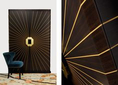 Supernova Cabinet by Dering Hall, shown here in box wood and fumed oak with brushed brass handles, built by hand in England.
