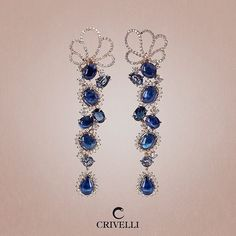 A cascade of sapphires with a blue palette that highlights the deep colours. #Crivelli #sapphires #earrings