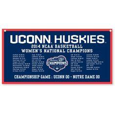 "UConn Huskies 2014 NCAA Women's Basketball National Champions 18"" x 36"" Horizontal Schedule Banner"