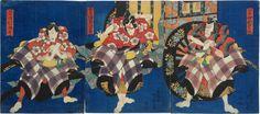 Utagawa Kunisada (Toyokuni III), 1786-1865: Actors Sawamura Tossho I, Bando Mitsugoro, and Nakamura Shikan II in the Kurumabiki Scene, woodblock print, ca. 1833-1835.