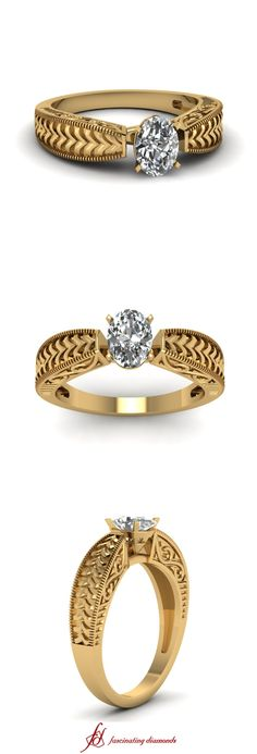 Carved V Ring ||  Oval Shaped Diamond Solitaire Ring In 14K Yellow Gold