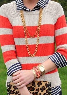 mixing patterns stripes leopard animal print #style #fashion #fall