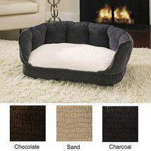 Dog Bed Plush Sofa Sherpa Lined Pet Cushion House Warm Winter Cat Home Decor
