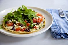 OPEN OMELETTE WITH CHERRY TOMATOES, BASIL & OLIVES