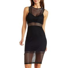 Charlotte Russe Black Love & Air Cut-Out Netted Mesh Midi Dress by... ($50) ❤ liked on Polyvore featuring dresses, black, black dress, black bodycon dress, black cutout dress, bodycon cocktail dress and black cocktail dresses