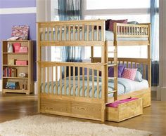 Columbia Natural Maple Wood Full/Full Bunk Bed w/2 Flat Panel Drawers