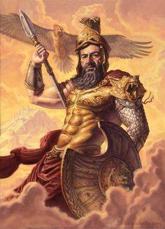"Nicholas Elias Illustration ""Ares, God of War,"" Oil on paper on board, Artemis, God Of War, Goddess Of Grain, Greek God Tattoo, Aphrodite, Zeus And Hera, Roman Gods, Greek Gods And Goddesses, Greek And Roman Mythology"