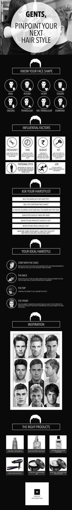 Great infographic for selecting the ideal hairstyle based on face shape.  #men #hairstyle