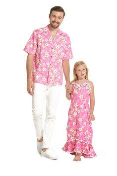 57b9e6859e05 Made in Hawaii Father Daughter Matching Shirt and Girl Maxi Muumuu Dress  YELLOW PLUMERIA IN Pink. Hawaii OutfitsLuau ...