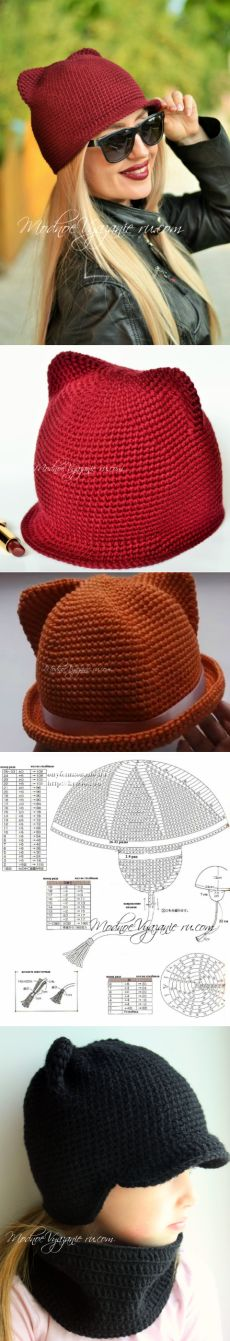 Как вязать шапочки с ушками крючком - Crochet Modnoe Vyazanie