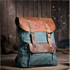 P2 Backpack 'VINTAGE 2' A4 Retro style. Canvas & cowhide leather.