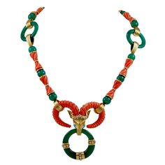CARTIER Diamond Green Chalcedony Coral & Turquoise Necklace