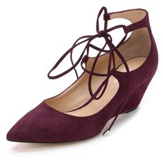 Belle by Sigerson Morrison Willy Lace Up Suede Wedges (1.590 VEF) ❤ liked on Polyvore featuring shoes, burgundy, suede shoes, low shoes, burgundy shoes, pointed toe wedge shoes and pointy toe wedge shoes