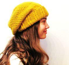 Winter Hat - Knit Hat - The Cuffed Slouch Hat - Wool Blend - Mustard