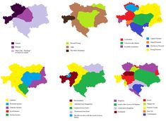 6 ways to divide the Austro-Hungarian Empire in 1900 according to Imperial propaganda.