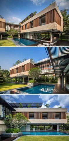 casa moderna con jardin interno