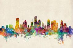 Houston Texas Skyline Canvas Print / Canvas Art by Michael Tompsett