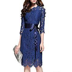 MISSLOOK Women's Floral Lace Pierced Slim Bodycon Party Cocktail Midi Pencil Dress - Navy Blue 4