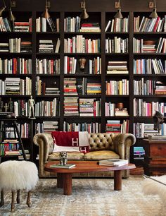 The library of Ellen DeGeneres and Portia de Rossi's Los Angeles home was designed by Tommy Clements and his mother, Kathleen. Photo courtesy of Kathleen Clements Design