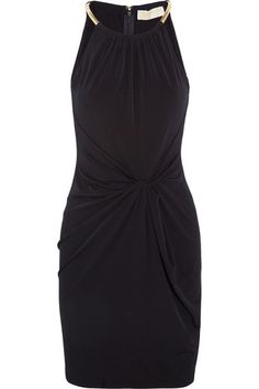 Knotted-front stretch-jersey mini dress