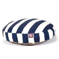 Majestic Pet Products Vertical Stripe Round Outdoor Indoor Pet Bed Removable Cover, Blue