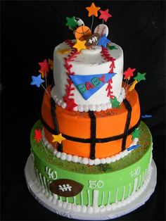 Sports cake @Marissa Donahoo for the baby shower!