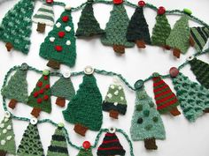 Merry Christmas! This is a pattern for 24 little Christmas trees to hang on an advent garland. Knit one a day for the days leading up to Christmas, or get ahead and knit them all now. They are quick and easy to make and great for using up yarn in your stash. They also look good tied to parcels or hung around the house.  The trees are made in one piece and the trunks are knitted on afterwards, so no sewing up to do.  The trees in the photos were made in Jamieson and Smith yarn. However,the…