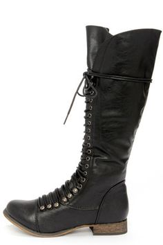 Check it out from Lulus.com! Whenever you have a need for knee highs, the Georgia 35 Black Lace-Up Knee High Boots will be patiently waiting! Winter, spring, or fall, these vegan leather boots offer a fine construction with a seamed toe cap, and a tall 14.5