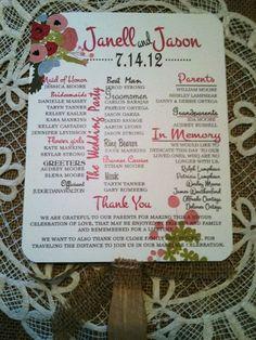 Rustic Country Wedding Program Fan Mason Jar