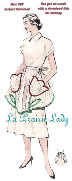 Repro Vintage Half Apron 50's One Yard Fabric PDF by laprairielady, $5.00