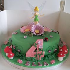 Tinkerbell cake inspiration for Zoe's birthday Tinkerbell Birthday Cakes, Fairy Birthday Cake, 4th Birthday Cakes, Tinkerbell Party, Birthday Ideas, Bolo Tinker Bell, Fairy Cakes, Character Cakes, Disney Cakes