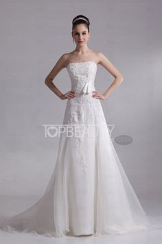 Cheap Romantic A-line Strapless With a Train Organza Wedding Dress with Bow