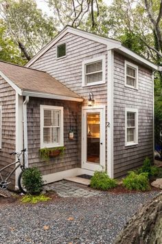 This is a 350 sq. tiny cottage in Cape Cod redesigned by Christopher Budd and re-built by Cape Associates, Inc. tiny homes 350 Sq. Tiny Cottage on Cape Cod Tiny House Movement, House Minimalist, Minimalist Bedroom, Minimalist Kitchen, Minimalist Interior, Minimalist Decor, Cape Cod Cottage, Cozy Cottage, Cottage House