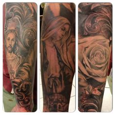 Final touches on this religious half sleeve . Mary Jesus and rose all healed