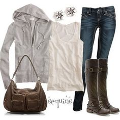 Skinny jeans, white t, tall grey boots, cashmere hoodie, grey handbag, and silver accessories.