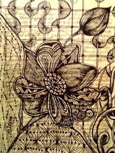 Flores-1, técnica zentangle, sobre doc.antigo impresso.