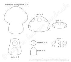 Crafters Boutique: Free Pattern of The Month - Mushroom Cottage Ornament Felt Patterns Free, Felt Ornaments Patterns, Felt Crafts Patterns, Free Pattern, Felt Templates, Applique Templates, Applique Patterns, Card Templates, Felt Mushroom