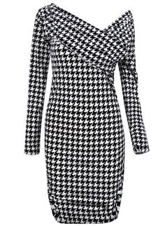 Black White Houndstooth One Shoulder Long Sleeve Bodycon Dress US$32.62